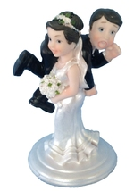 Bride and Groom Cake Top Funny Couple Bride Carrying Groom … - $12.99