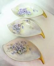 Vintage 3pc Decorative Variety Purple Flowers Porcelain Gold Candy Trinket Dish - $24.47