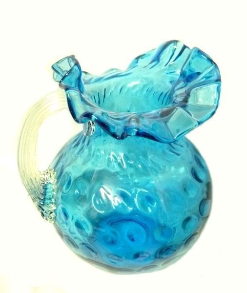 Vintage Vibrant Blue Handblown Thumbprint Reeded Handled Water Tea Pitcher Vase - $176.37