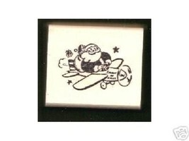 Santa Claus flying plane Rubber Stamp made in america free shipping - $13.64