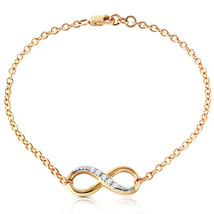 14k. Solid Yellow Gold Infiniti Bracelet With Natural Diamonds - €468,64 EUR+