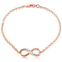14k. Solid Rose Gold Infiniti Bracelet With Natural Diamonds - $517.33+