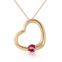 14k. Solid Yellow Gold Heart Necklace With Natural Pink Topaz - $226.93+