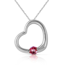14k. Solid White Gold Heart Necklace With Natural Pink Topaz - $226.93 - $265.93