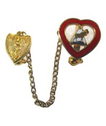 Vintage WOTM Fraternal Women Of The Moose Heart & Shield Pin With Chain - $7.99