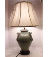 Unique Oriental Celadon Crackle Porcelain Table Lamp Shade Finial Thaila... - $241.69