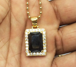 Hip Hop Micro Square Black Onyx Pendant Chain Necklace - $24.99