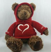 """Gund Millennium Love Bear 25"""" Plush Brown Teddy Red Sweater Hoodie 2000 - $24.19"""