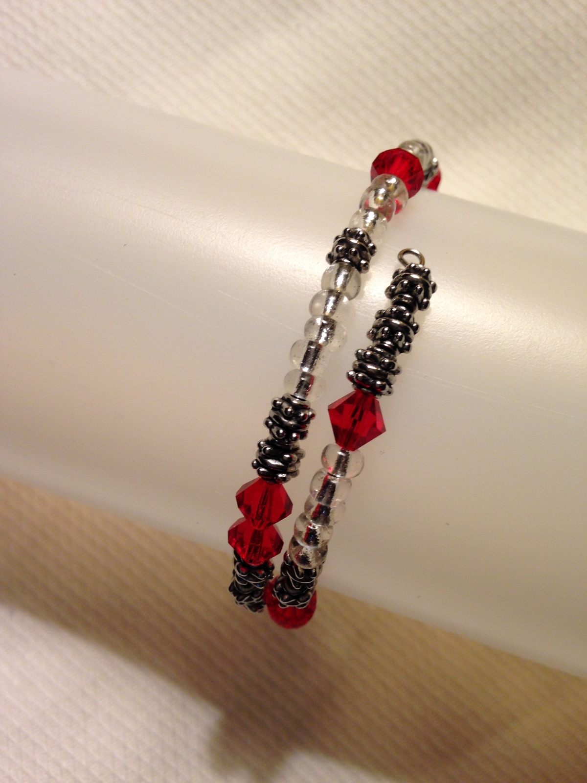 Red Wrap Bracelet, Crystal Czech Beads, Glass Beaded Bracelet