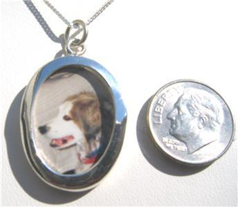 """ccj OVAL PICTURE PENDANT 18"""" Necklace 925 Silver N72"""