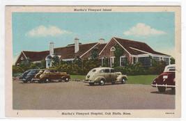 Marthas Vineyard Hospital Cars Oak Bluffs Massachusetts 1950c postcard - $6.44