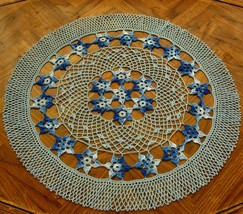 Stars In The Sky - Round Table Topper Crochet A... - $42.50