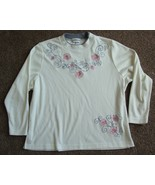BON WORTH ivory Embroidered Long Sleeve  Knit Top sz S/P - $5.99