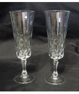 Clear Glass Flute Pair Pressed Glass - $31.18