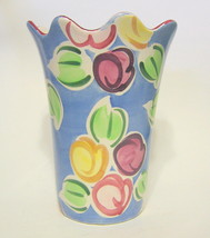 Fruit Vase Hand Painted Ceramic Signed - $40.09