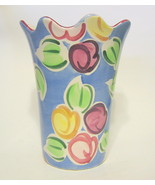 Fruit Vase Hand Painted Ceramic Signed - $40.09