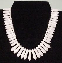 Bold White Choker Plastic Necklace Signed Germany - $29.00