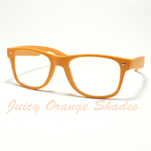 NERDY Retro 80's OLD SCHOOL Classic CLEAR LENS Eyeglasses MATTE ORANGE - $6.88