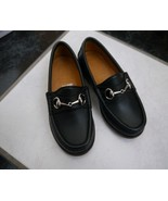 NIB 100% AUTH GUCCI boy black leather horsebit loafers shoes sz 27 25781... - $156.42