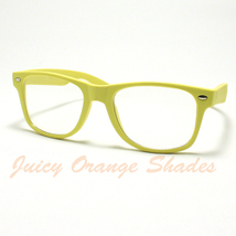 Nerdy Retro 80's Old School Classic Clear Lens Eyeglasses Matte Yellow - $6.88