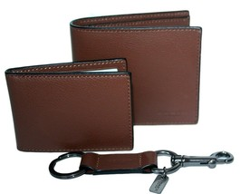 8959-1 New Coach Mens Sport Leather Billfold Compact ID Wallet Key FOB G... - $89.09