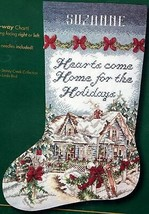Bucilla Holiday at Home Hearts Christmas Cabin Cross Stitch Stocking Kit 84023 - $74.95