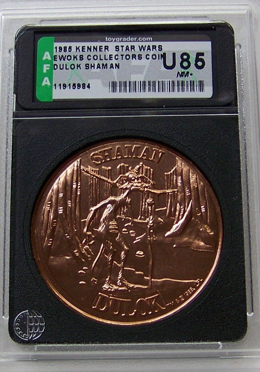 Star Wars 1985 POTF Ewoks coin AFA U85 Dulok Shaman