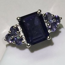 Genuine 8ct Emerald Cut Iolite Water Sapphire 925 Solid Sterling Silver ... - $69.29