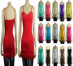 18C Lace Trim SPAGHETTI TANK TOP Adjust Strap Long Layering Cami Tunic T... - $5.99+