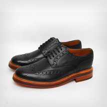 Handmade Mens Brogue wing tip black good year welted sole formal leather... - $189.99