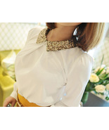 Pretty Sequins Collar White Shirt. Ladies Long ... - $59.00