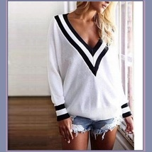 Loose Long Sleeved Knitted Pullover Stripe Edge Deep V Neckline White Sweater