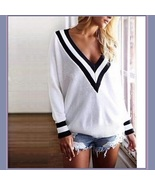 Loose Long Sleeved Knitted Pullover Stripe Edge Deep V Neckline White ... - $54.95