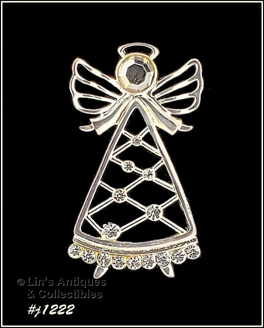 Primary image for Eisenberg Ice Signed Angel Pin Silver Tone with Rhinestones (Inventory #J1222)