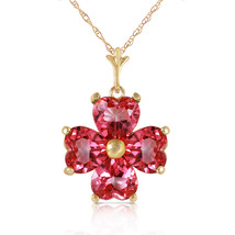 3.8 CTW 14k Solid Yellow Gold Orchid Love Pink Topaz Necklace - $335.97+