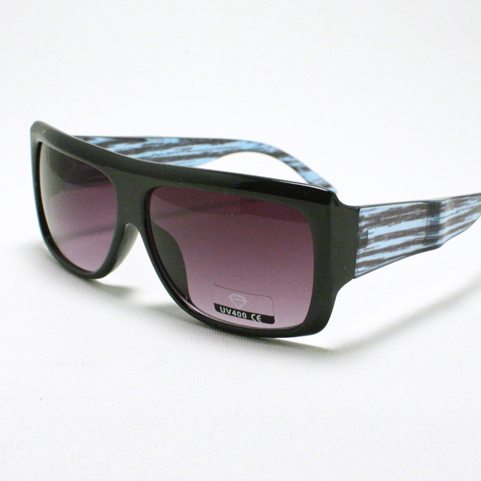 Primary image for Old School MOB Style FLAT TOP SQUARED Sunglasses UNISEX BLACK w/ BLUE