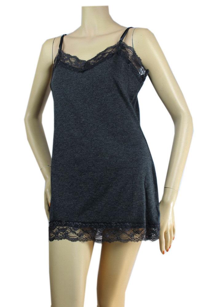 Lace Trim SPAGHETTI TANK TOP Adjustable Strap Long Layering Cami Tunic Top PLUS