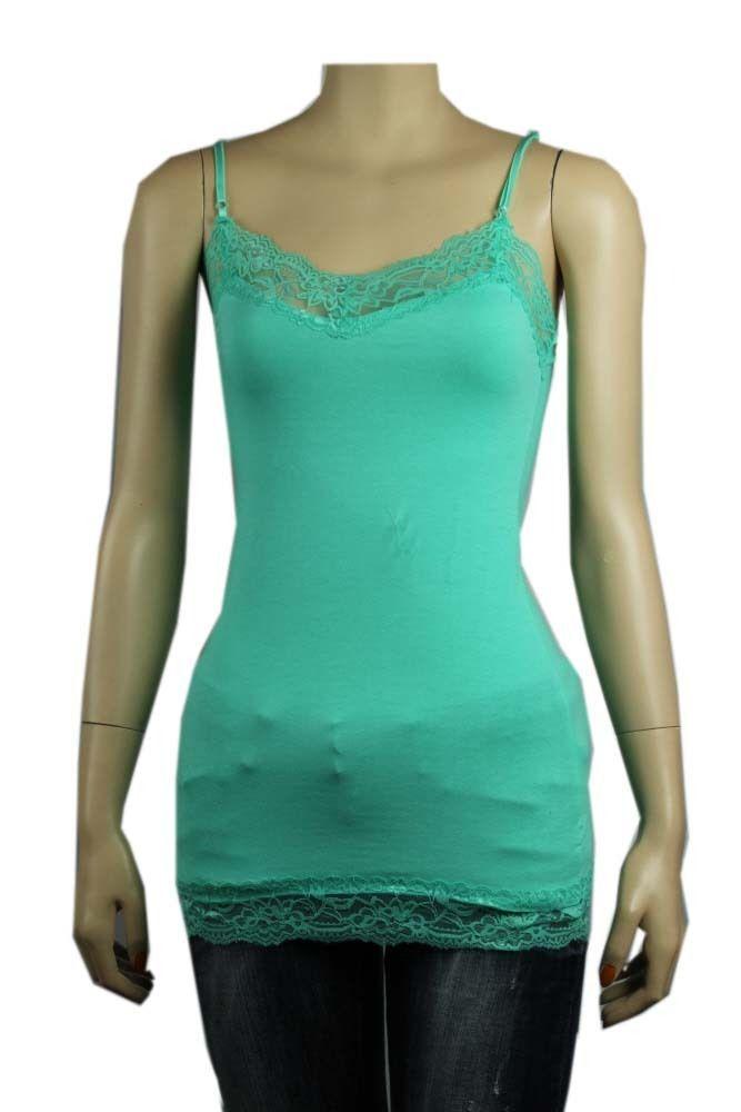 18C Lace Trim SPAGHETTI TANK TOP Adjust Strap Long Layering Cami Tunic Top S-3X