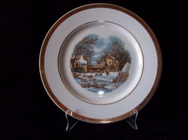 Vintage Viletta Fine China Currier & Ives Gold Banded Decorator Plate - $13.00
