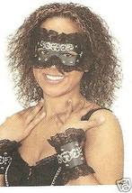 Sexy Black Lace MASK & CUFFS Masquerade Costume Set mardi gras - €9,97 EUR