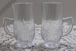 Vintage Pair Clear Crystal Irish Coffee Mugs Footed Tall Drink Ware Cups... - $13.00