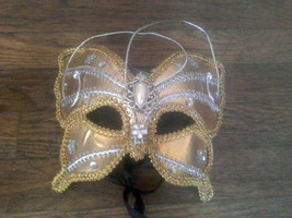 Gold & Silver Jeweled Lace Butterfly Venetian Masquerade Party Eye MASK ... - €16,57 EUR