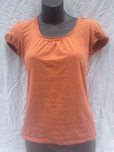 MOSSIMO Stretchy Solid Orange Cotton T-Shirt Blouse sz XS - $6.89