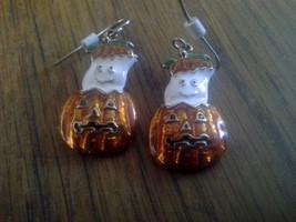 Ghost Inside Jack o ' Lantern Dangly Hook EARRINGS halloween costume pum... - $5.94
