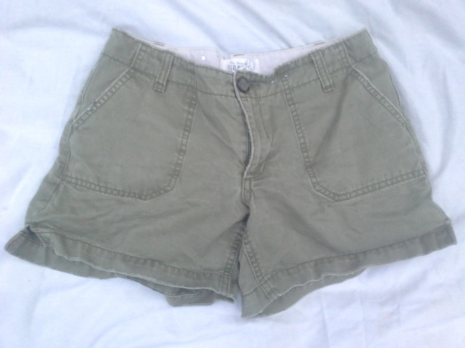 Primary image for Womens Old Navy Army Olive Green Distressed Cotton Shorts Low Rise Sz 1