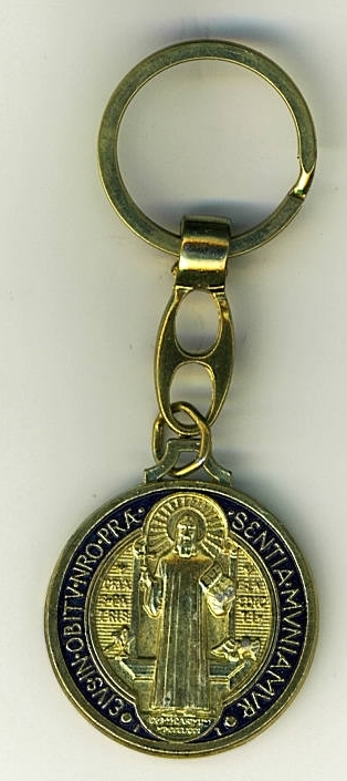 Key Ring -  St. Benedict - Gold - L105.0092