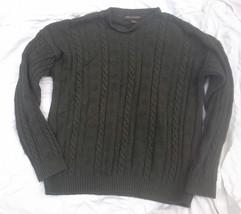 LIBERTY Mens Dark Olive Green Cotton Knit Pullover Sweater USA sz L - $21.28