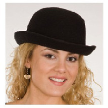 Deluxe Felt BLACK BOWLER HAT derby chaplin theater costume formal S/M 57cm - $11.99