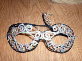 Black & Silver Glitter Metal Masquerade Eye MASK costume carnival mardi ... - $13.54