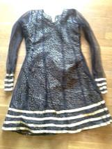 Black & Gold Leopard Print Handmade Costume Party DRESS Girls L or Womens XS - $14.50